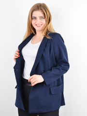Дольче. Пиджак для офиса plus size. Синий.