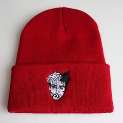 Вязаная шапка с отворотом и вышивкой XXXTentacion (Тентасьон), красная