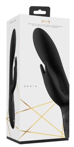 Черный вибромассажер-кролик Zosia - 21,3 см.