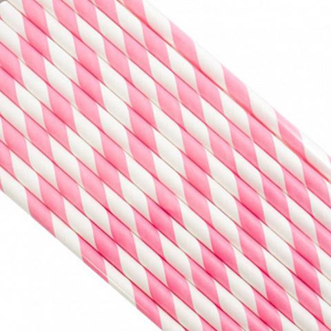 Трубочки бумажные Розовые, 200*6мм, 25шт