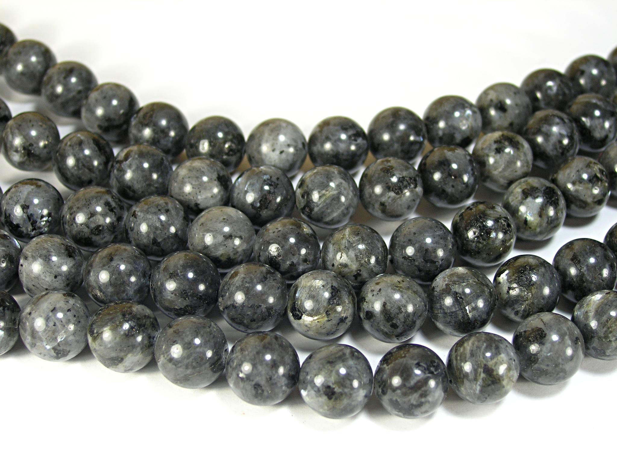 Нити бусин из лабрадора черного, шар гладкий 12мм (оптом)
