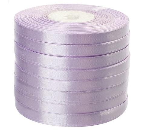 Лента атласная (размер: 10 мм х 50 ярд) Цвет: светло-сиреневая