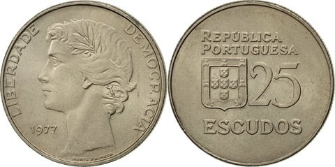 25 эскудо 1977 год, Португалия. aUNC