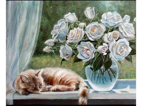 Алмазная Мозаика 40x50 Рыжий кот и букет белых роз на окне