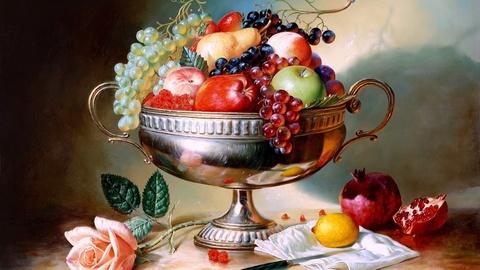 Алмазная Мозаика + Багет 40x50 Натюрморт с фруктами в серебрянной вазе