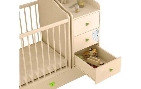 Кроватка детская Polini kids Зайки с комодом, бежевый-зеленый