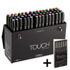 Touch Twin набор маркеров для скетчинга 60 шт в чемодане - двусторонние спиртовые пуля/долото (палитра B)