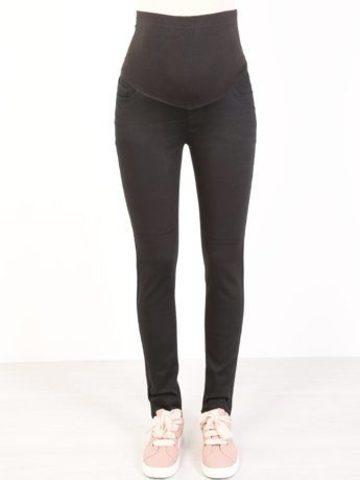 Узкие эластичные джинсы для беременных цвет черный