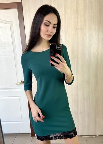 Гала. Повсякденне просте плаття з мереживом. Смарагд