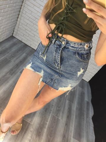 джинсовая юбка с рваными краями nadya