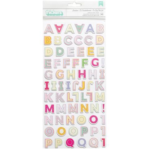 Чипборд алфавит Thickers Stickers  - коллекция Oh My Heart- Pink Paislee - 141шт.