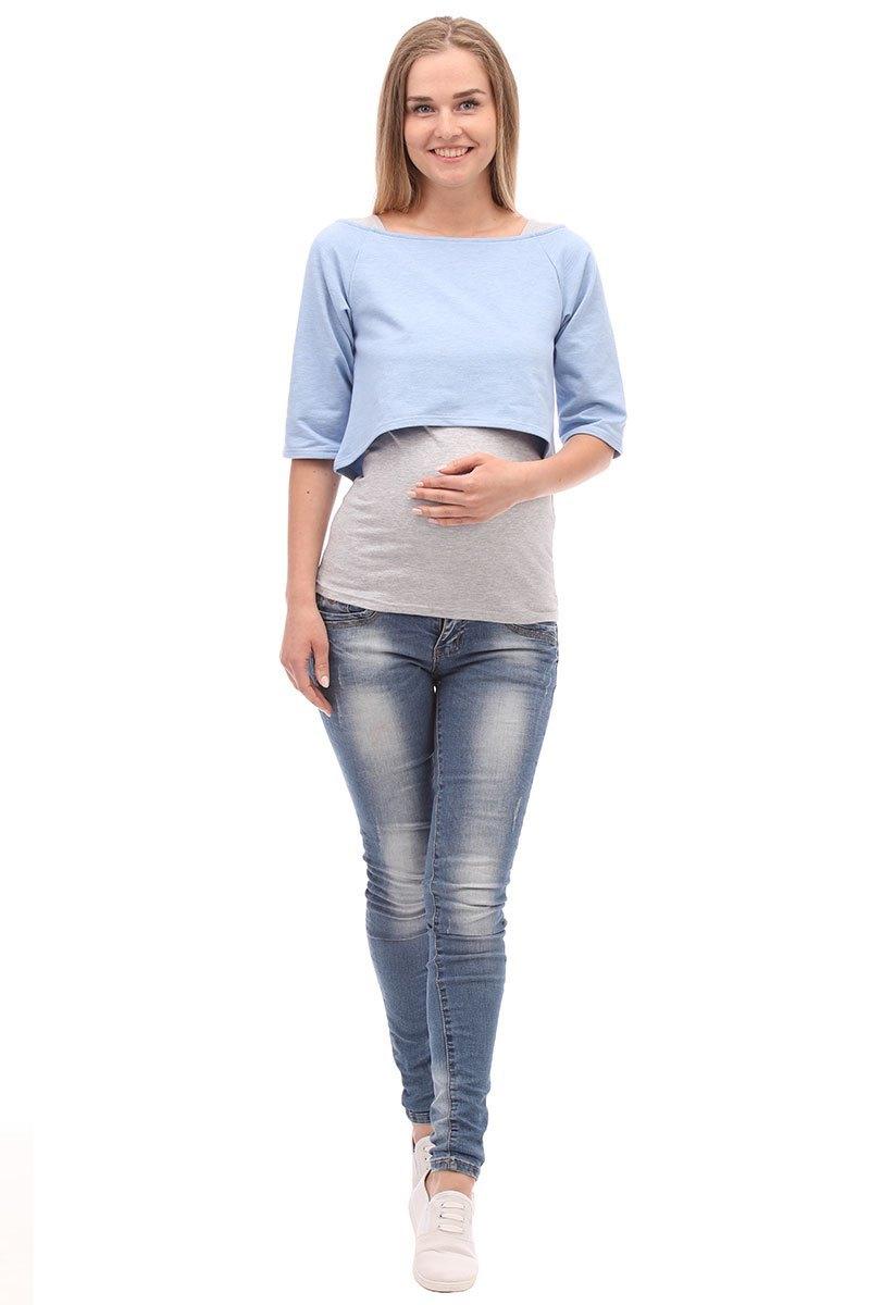 Двойка для беременных и кормящих 09974 голубой/серый