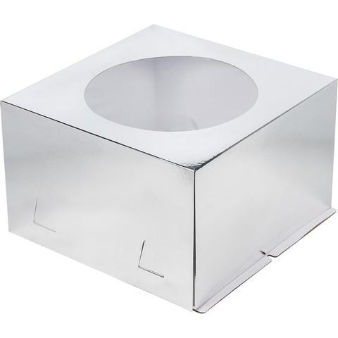 Коробка для торта с окном, 28*28*18см (серебро)