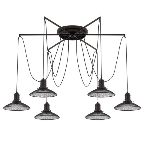 Люстра Паук 6 плафонов сетка / черный Citilux Эдисон