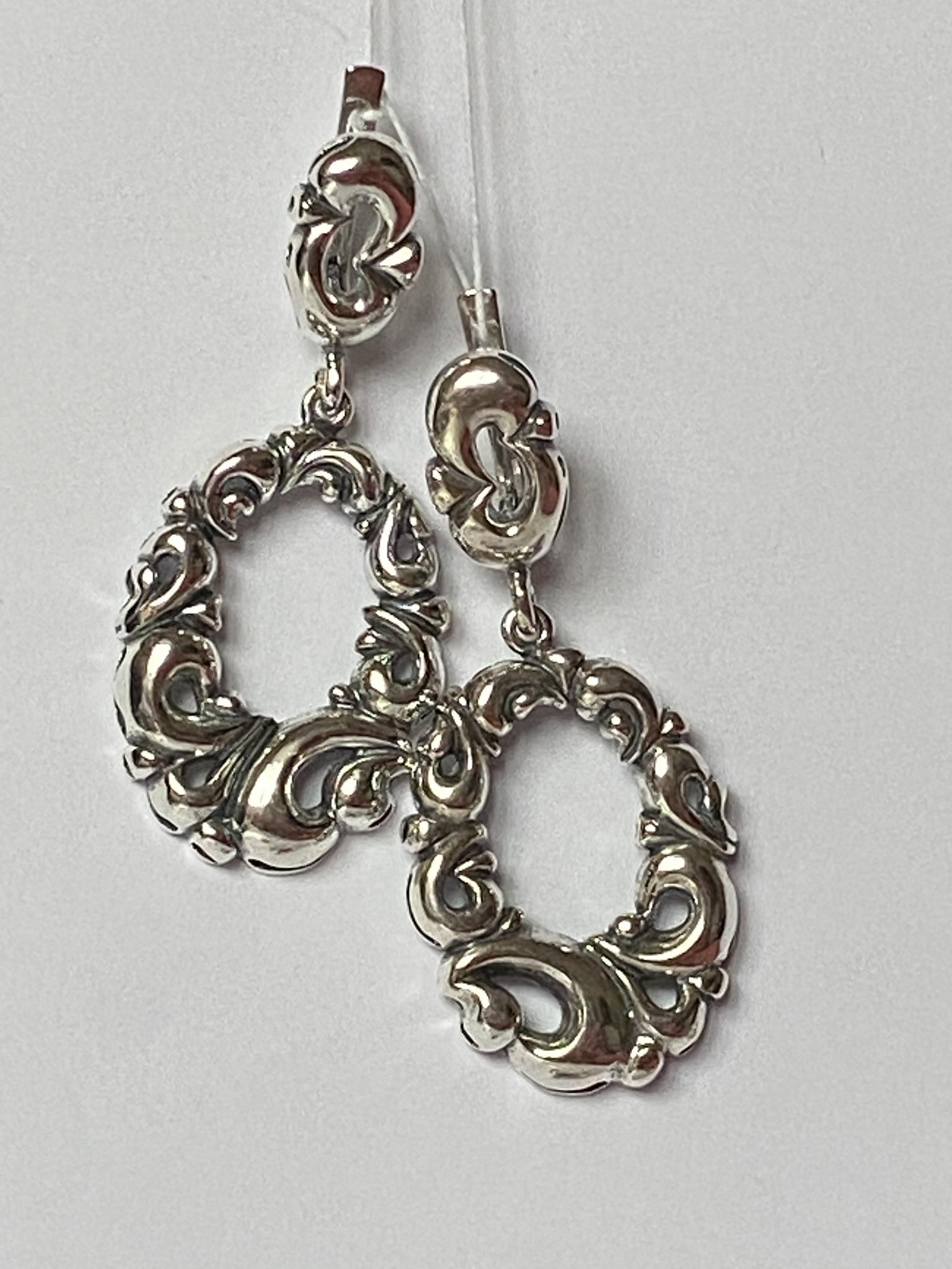Хохлома (серебряные серьги)