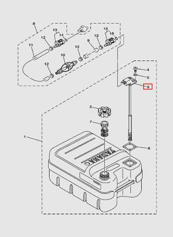 Коннектор с измерителем топлива  для лодочного мотора T15, OTH 9,9 SEA-PRO (18-3)