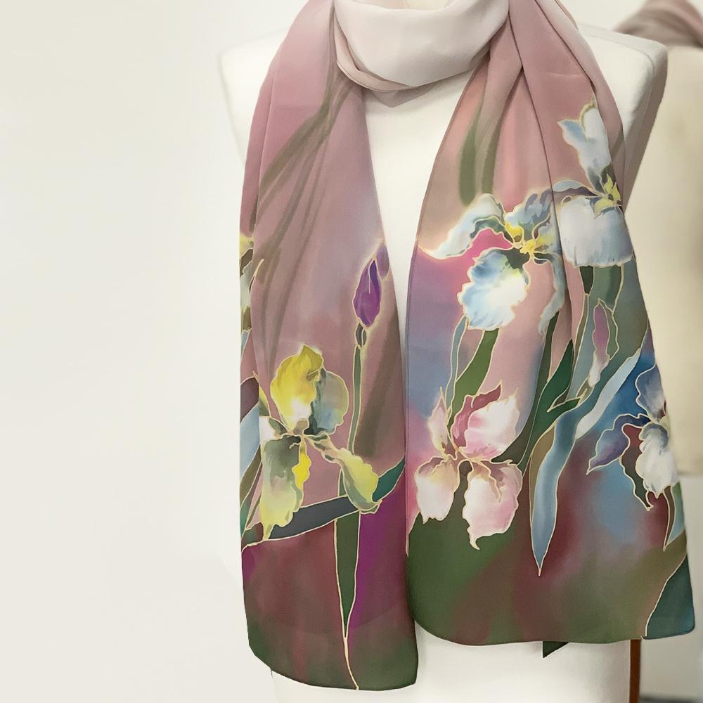 Шелковый шарф батик Магия Ирисов С-57