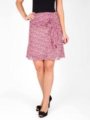 6195-1 юбка бежево-малиновая