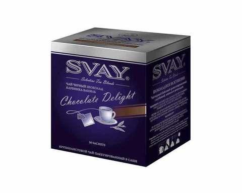 Чай черный с клубникой, ванилью и шоколадом Svay Chocolate Delight, 20 пак/уп, 2 г