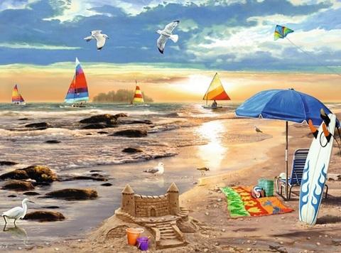 Картина раскраска по номерам 30x40 Насыщенная жизнь на береге