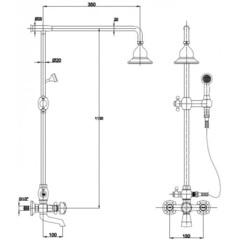 Душевая система KAISER 90190-3 (SXP-90-03) золото схема