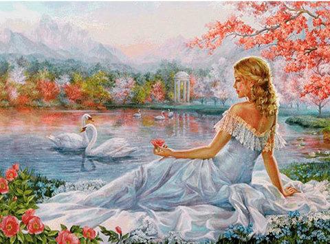 Алмазная Мозаика 40x50 Девушка смотрит на лебедей
