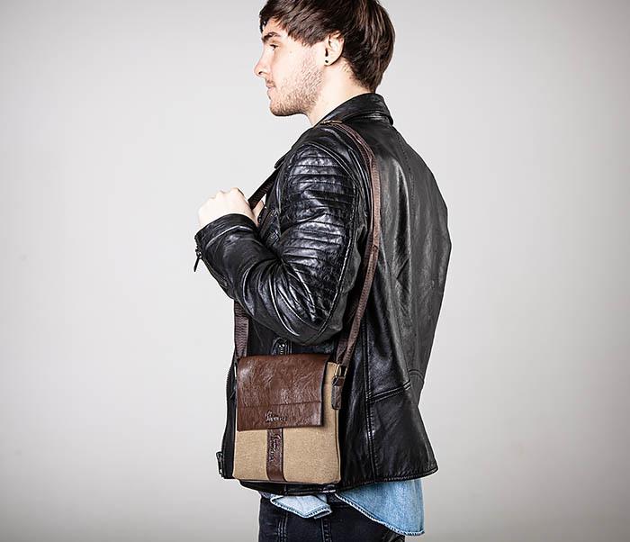 BAG561-2 Небольшая сумка на плечо из ткани и кожи фото 02