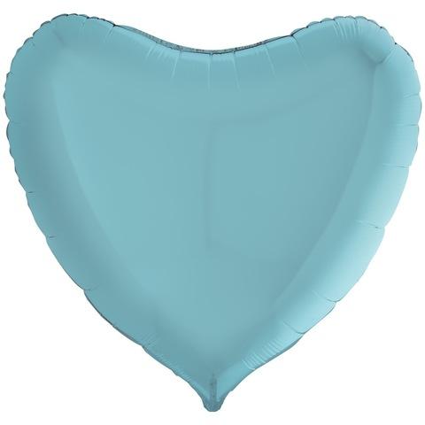 Воздушный шар сердце большое, Нежный голубой, 91 см