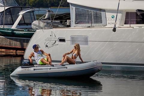 Надувная лодка Compas-350S с НДНД, т.серый/синий