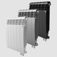 Биметаллический радиатор с правым нижним подключением Royal Thermo Biliner 500 V Noir Sable (черный) - 4 секции