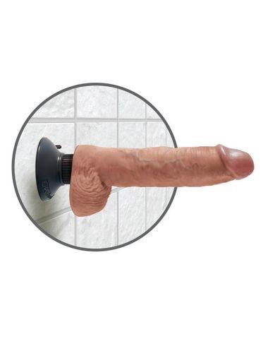 Вибромассажер-реалистик 3 в 1 на присоске загорелый King Cock 10 Vibrating Cock with Balls Tan