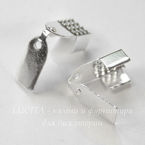Концевик обжимной для шнура 5 мм, 11х6 мм (цвет - серебро) , 10 штук
