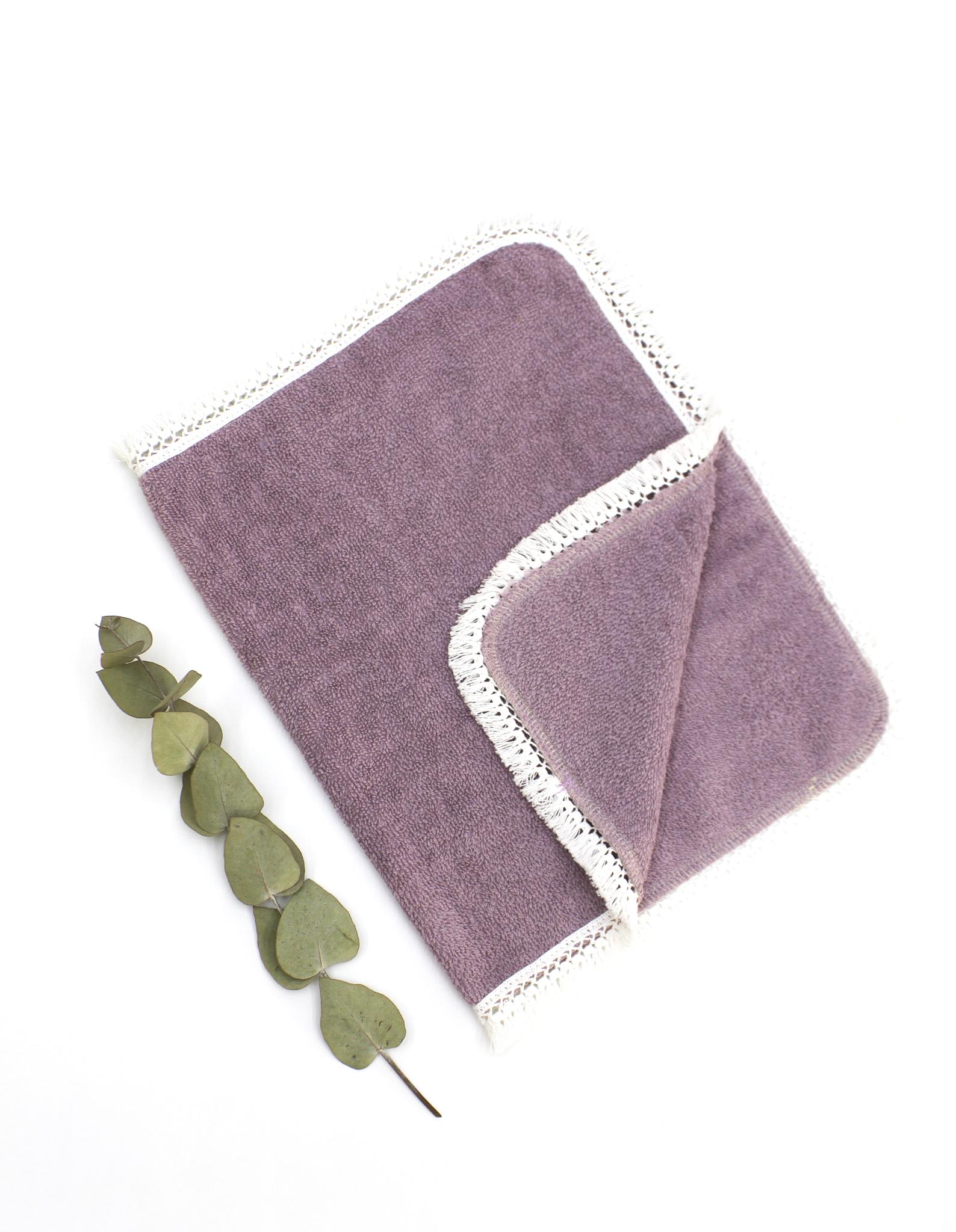 Махровая салфетка с кружевом, пыльно-фиолет.,30х50 см