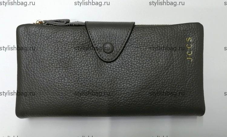 Кожаный кошелек JCCS болотного цвета