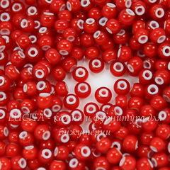 93730  Бисер 6/0 Preciosa Керамика красный с белым центром