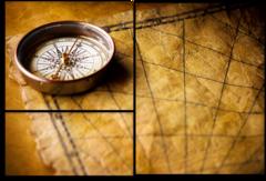 """Модульная картина """"Старинный компас"""""""