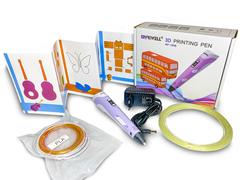 3D ручка Myriwell RP100B со светящимся в темноте пластиком и набором трафаретов.