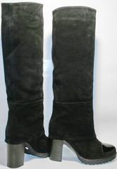 Сапоги демисезонные на каблуке. Черные сапоги женские. Модные сапоги замшевые Cluchini - Suede Black.