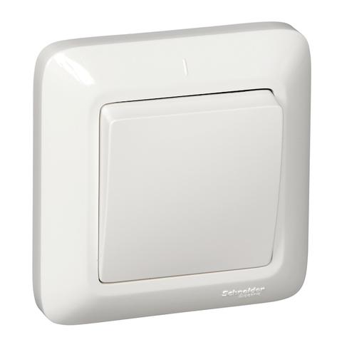 Выключатель одноклавишный 10 А 250 В в розничной упак. Цвет Белый. Schneider Electric(Шнайдер электрик). Prima(Прима). VS1U-116-BI