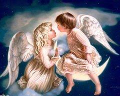 Алмазная Мозаика + Багет 40x50 Два ангела на небе
