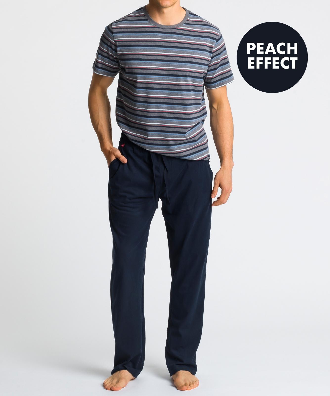 Мужская пижама Atlantic, 1 шт. в уп., хлопок, серый меланж, NMP-345