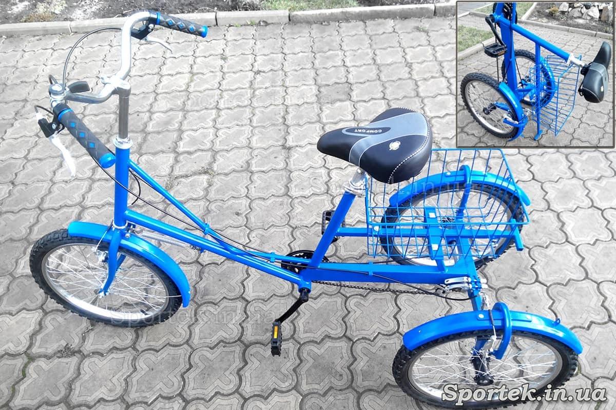 Триколісний велосипед 'Міський з кошиком 20' для вертикального зберігання