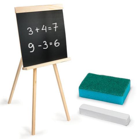 Доска для мела ПИФАГОР на треноге, 42х45 см, с мелком и губкой, черная