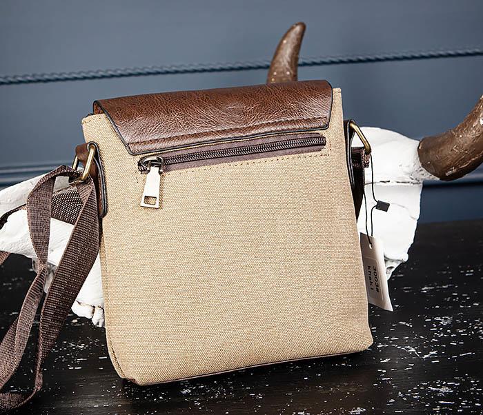 BAG561-2 Небольшая сумка на плечо из ткани и кожи фото 06