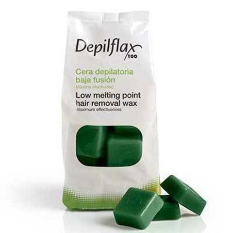 Горячий воск в брикетах Depilflax 100, зелёный, 1000 гр