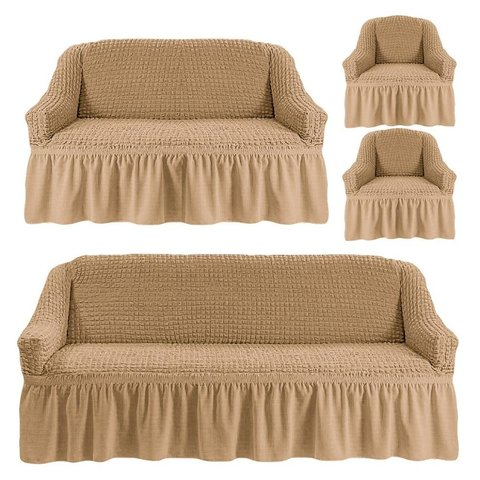 Чехлы на трехместный диван и двухместный диван +два кресла, бежевый