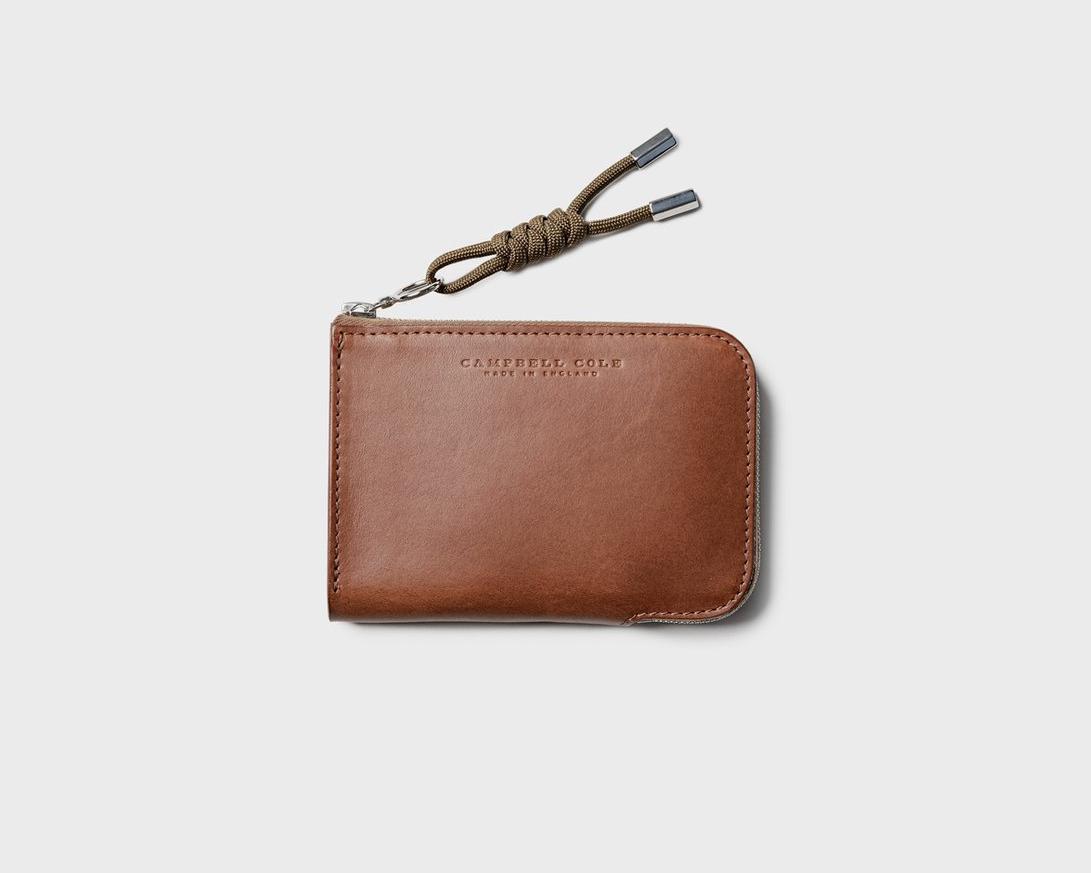Campbell Cole Simple Zip Corner Wallet Tan