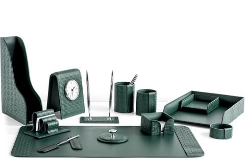 Набор для руководителя 13 предметов из кожи Treccia/зеленый
