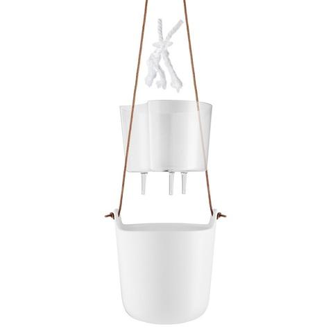 Горшок с функцией самополива подвесной белый