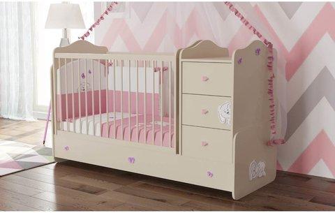 Кроватка детская Polini kids Зайки с комодом, бежевый-розовый